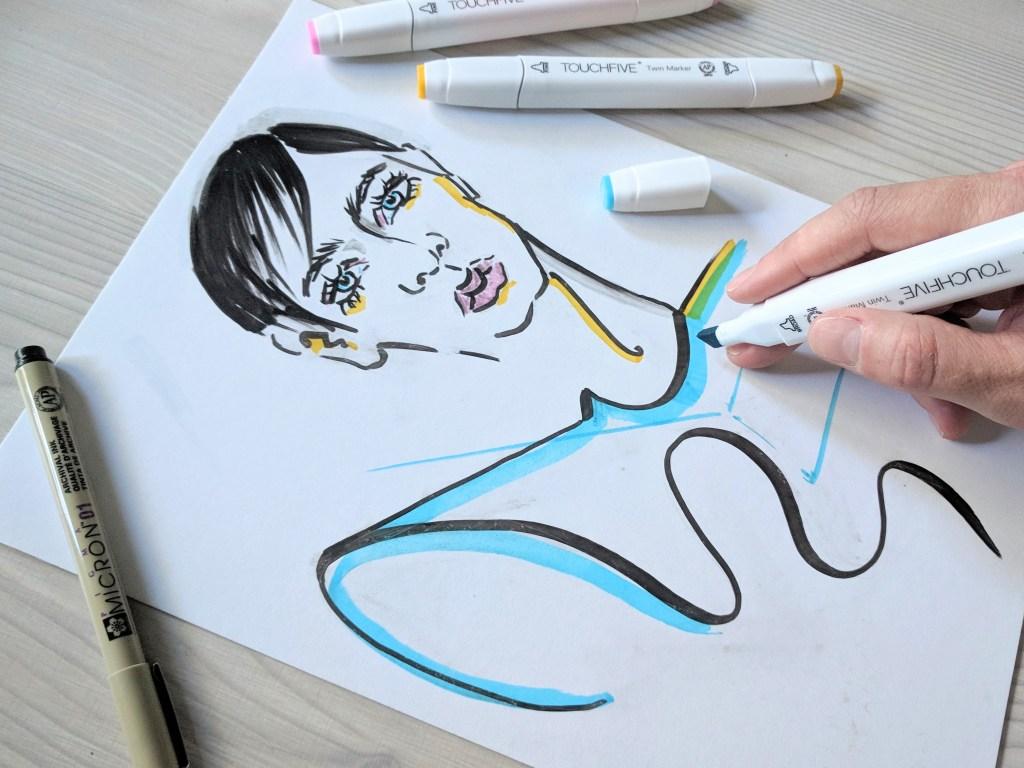 фешн-иллюстрация маркерами