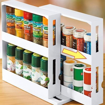 Rotating Spice Rack Organizer Kitchen Cabinet Cupboard Organizer Swivel Rack Storage Shelf Dropshipping