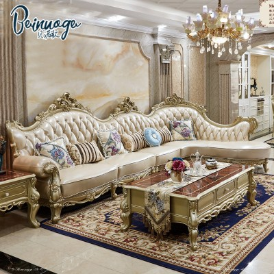 Benoge European-style sofa living room leather corner sofa combination villa small apartment living room solid wood furniture A061
