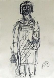 Markus lüpertz - herkules - Bleistift zeichnung Unikat - handsigniert - 30x20-5cm_Webgroesse
