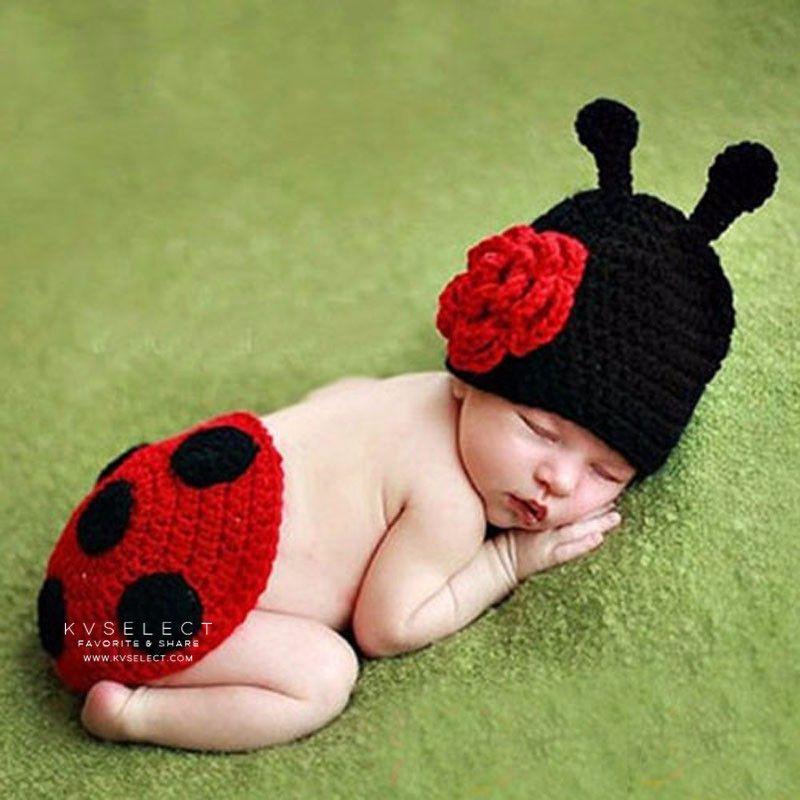KV親子生活-兒童嬰兒滿月拍照攝影針織瓢蟲造型服裝