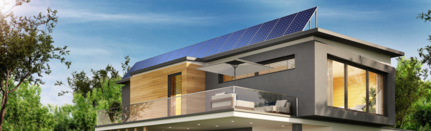 Solar Power Panels on the Roof of a Home in the Country