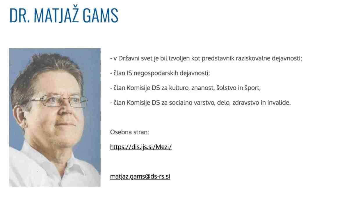Poziv k odstopu prof. dr. Matjaža Gamsa z mesta državnega svetnika za raziskovalno dejavnost