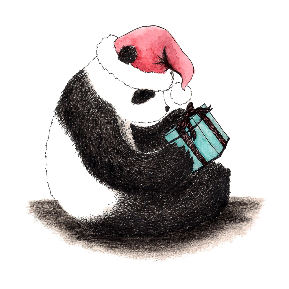 Christmas Panda illustration by Karen Vaughan. Copyright belongs to her.
