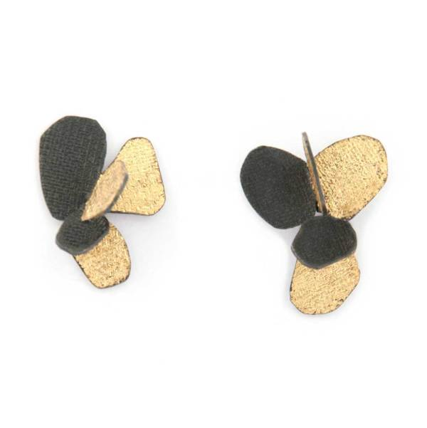 violet stud earrings oxidized silver and leafgold
