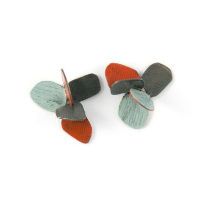 violet stud earrings lightblue-stonered