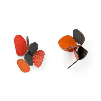 butterfly hive earrings red orange