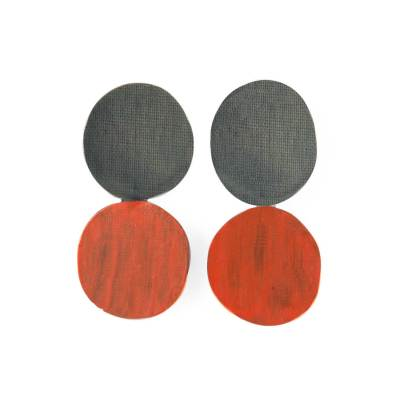 circle twist earrings-black red