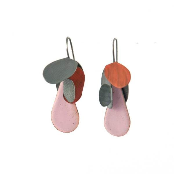 leaves and drops earrings S pink red
