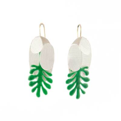monstera deliciosa earrings silver green enamel