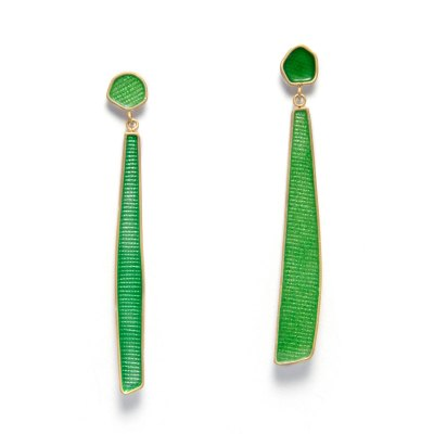enamel drop earrings in silver, gold and green enamel