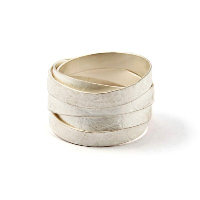 white ribbon wrap ring, 8 wraps