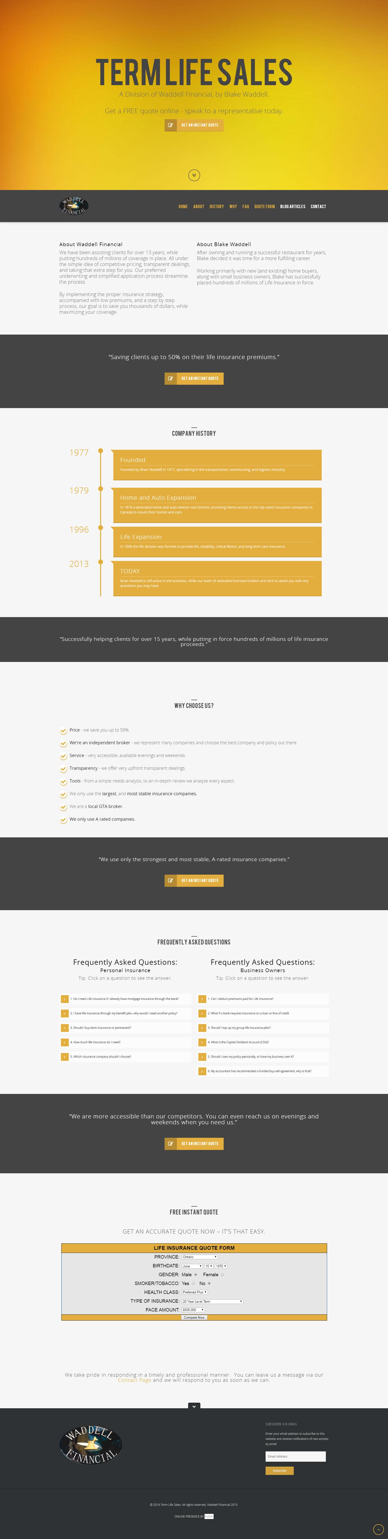 Term Life Sales Website