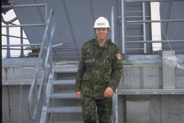 Reserveofficer på toppen af Storebæltsbroen