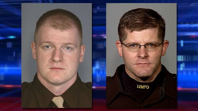 The Las Vegas Metropolitan Police Department identified the officers killed in an ambush-style shooting at a restaurant as Officer Igor Soldo, 32, left, and Officer Alyn Beck, 42, right. (Source: LVMPD)