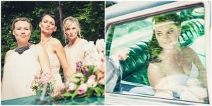 Hochzeitsfotografie Erfurt Brautjungfern Braut im Auto