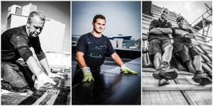 Business - Arbeitsportraits von Dachdeckern auf verschiedenen Dächern