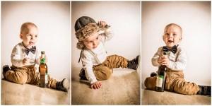 3 Portraits eines frechen Kleinkindes mit Fell-Mütze