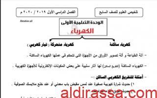 تلخيص كامل معدل علوم للصف السابع الفصل الأول إعداد المعلم إبراهيم علي 2019 2020