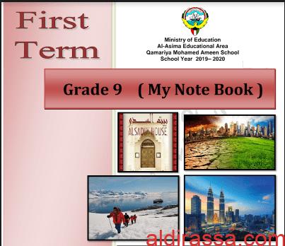مذكرة انجليزي غير محلولة للصف التاسع الفصل الاول اعداد شيرين الخس