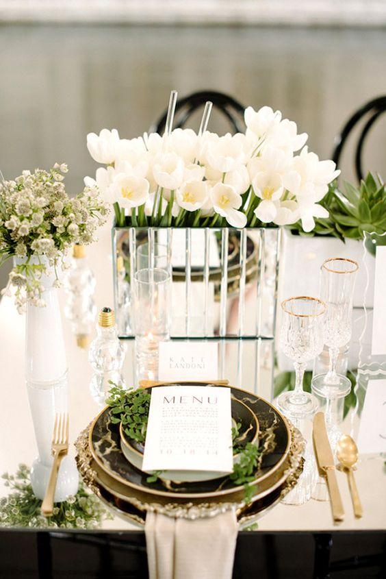 lustro dekoracja stołu weselnego