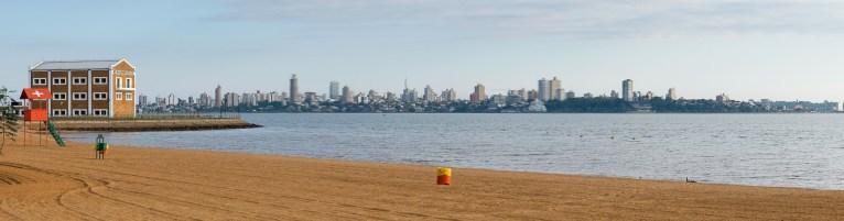Widok z Encarncion w kierunku Posadas w Argentynie