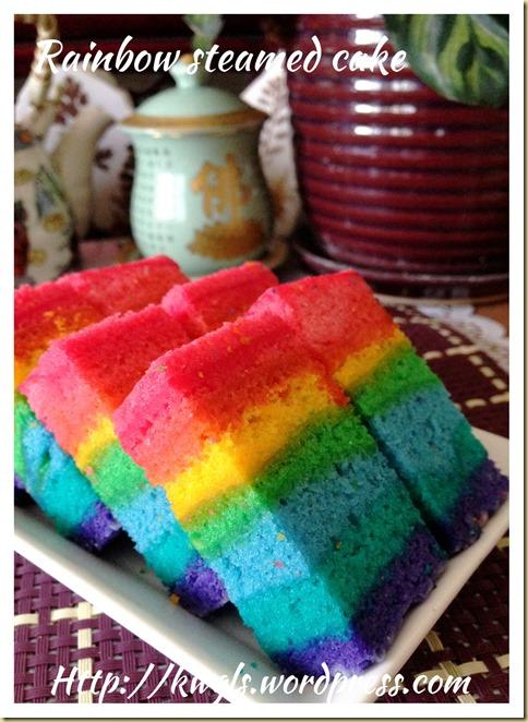 Rainbow Steamed Sponge Cake (彩虹椰奶鸡蛋糕)