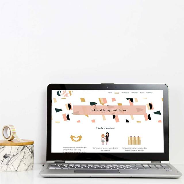 C&V Laptop Mockup of About Page | Katie Williamsen web design strategist