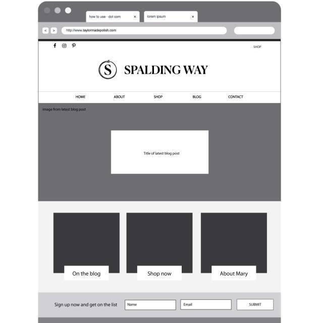 Spalding Way Wireframe Home Page   Katie Williamsen LLC