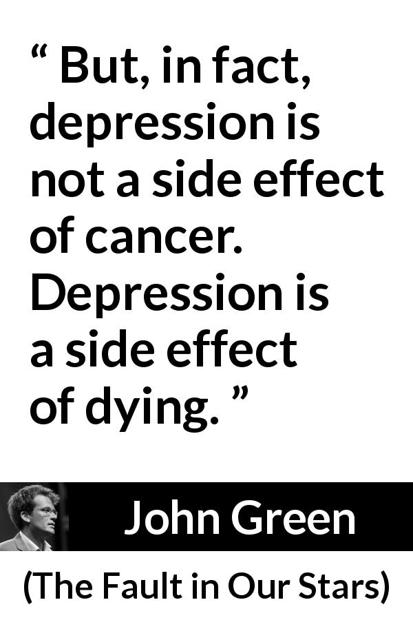 """""""But, in fact, depression is not a side effect of cancer"""