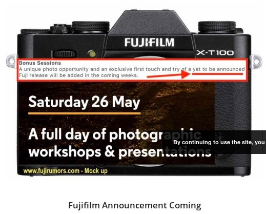 https://www.fujirumors.com/fujfilm-announcement-coming-within-2-weeks-fujifilm-x-t100-instax-sq6-and-surprises/