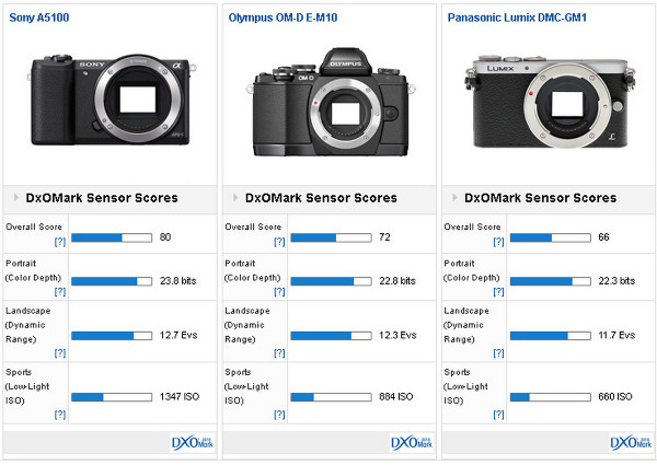http://www.dxomark.com/Reviews/Sony-A5100-sensor-review-Uncompromising-performance/Sony-A5100-versus-Olympus-OM-D-E-M10-versus-Panasonic-Lumix-DMC-GM1