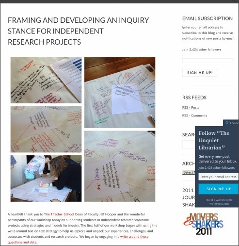 http://theunquietlibrarian.wordpress.com/2014/06/19/framing-and-developing-an-inquiry-stance-for-independent-research-projects/