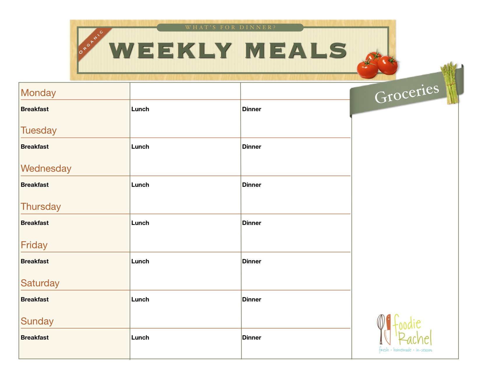 Organized Meal Planning