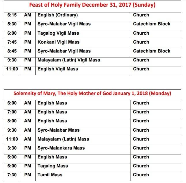 New Year Mass Schedules 2017-2018