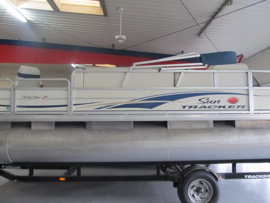 A Pontoon boat for sale at Ky All Boats Service Ceneter