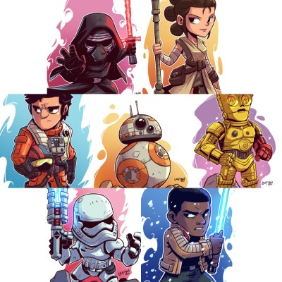 Force Awakens Chibi Art (x7) by Derek Laufman
