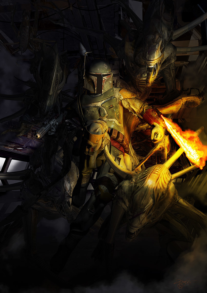 Boba Fett vs Aliens by Kurt Miller