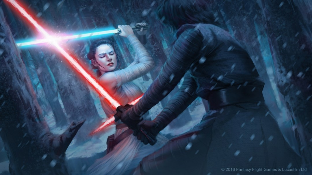 Rey vs Kylo Ren Art by Toni Foti