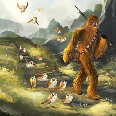 Chewie & The Porgs by Fiona Hsieh