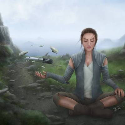 Rey's Training On Ahch-to by Shawn Duddridge