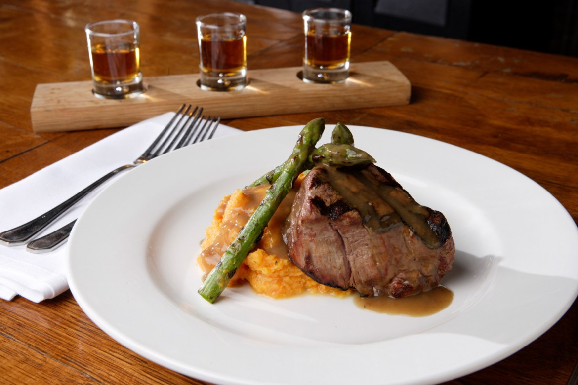 Bourbons Bistro Grilled Filet of Beef with a Roasted Shallot Bourbon Demi Glace and Mashed Sweet Potatoes - EAT