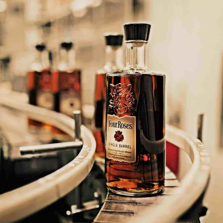 Four Roses bourbon bottles