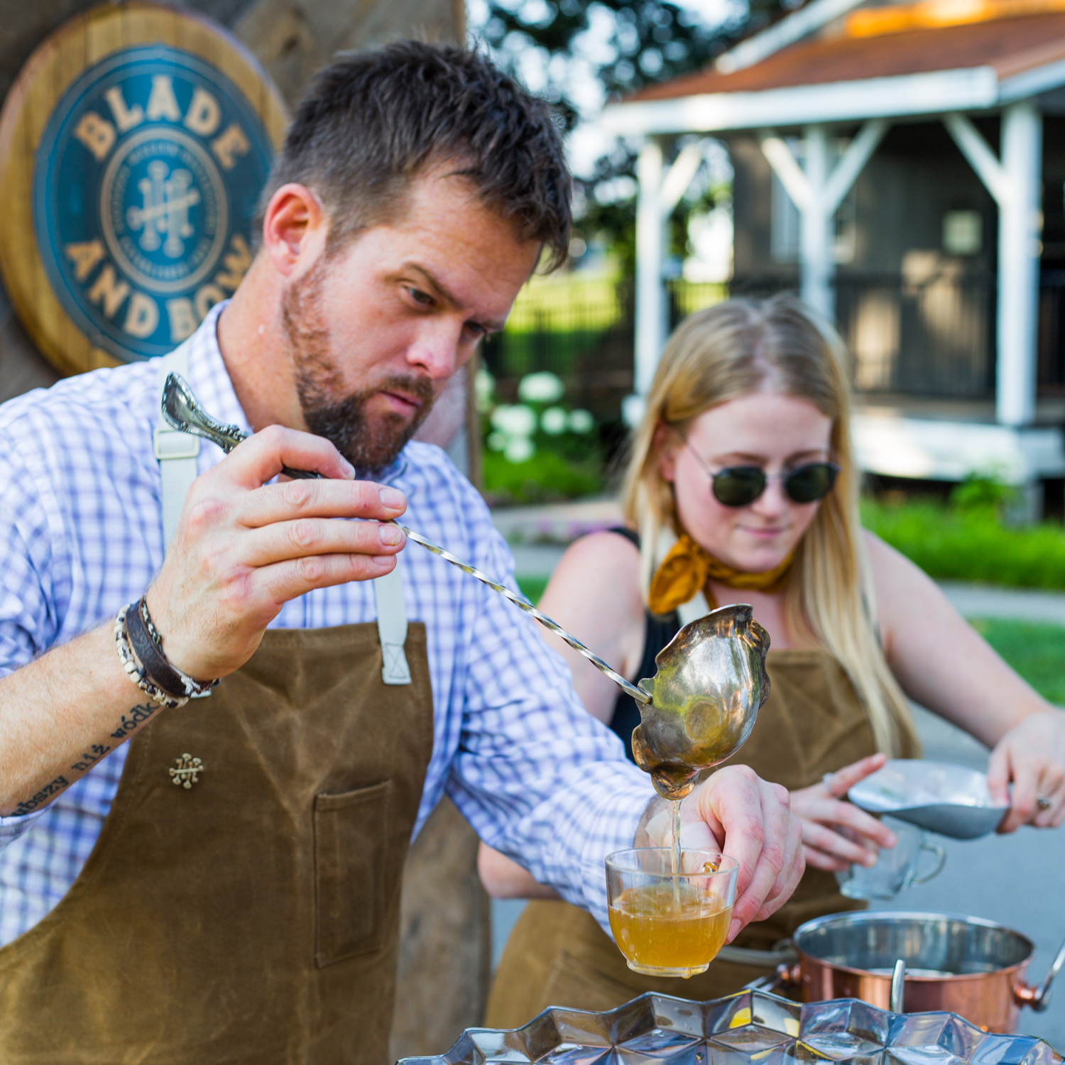 Man pouring punch