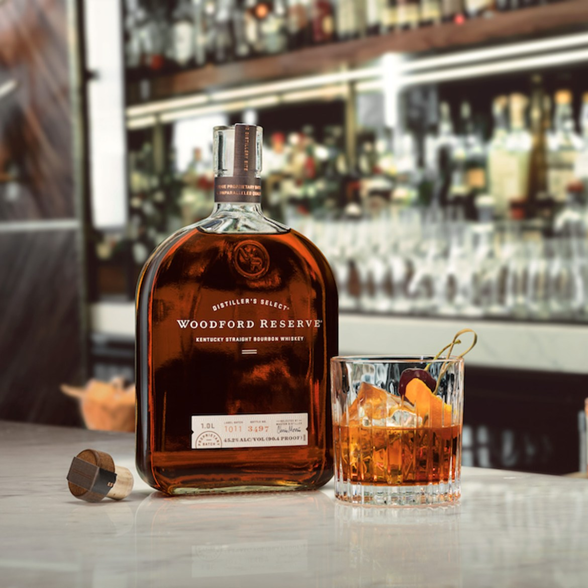 bottle of Woodford Reserve with a glass