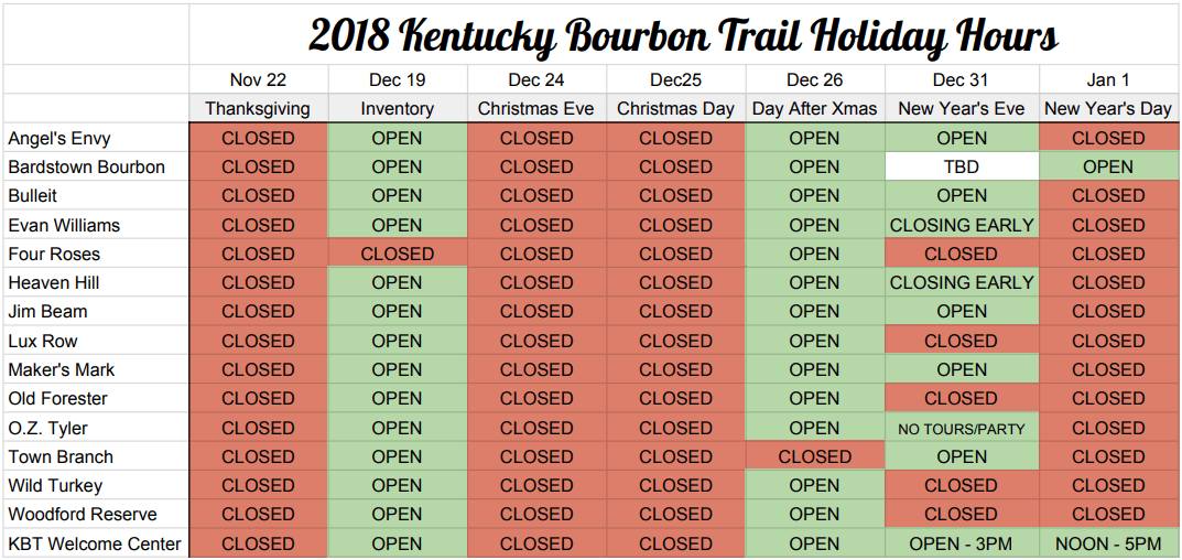 KBT Holiday Hours 2018 UPDATED - 2018 Holiday Hours