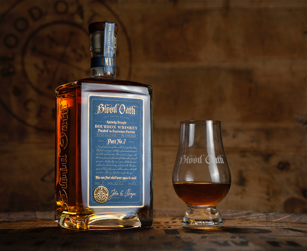 Blood Oath Pact 7 Bottle Shot - Master Distiller Renews Bourbon Pact with Fans by Creating Blood Oath Pact 7 Kentucky Straight Bourbon Whiskey