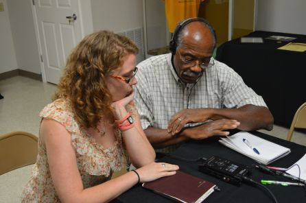 Lilli and John Long test out the new audio equipment during the Oral History Workshop.