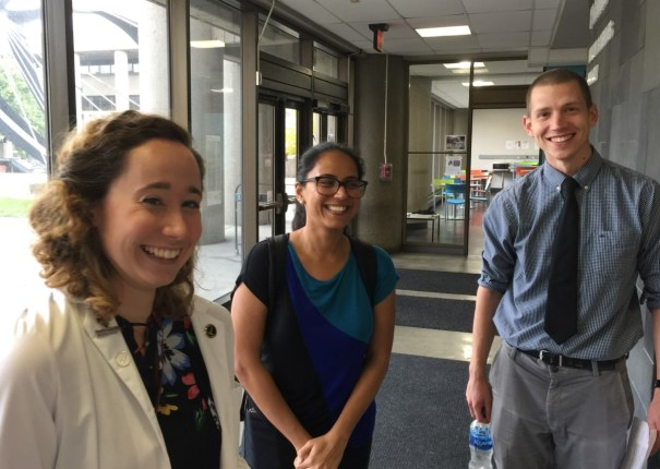 Medical student leaders of U of L SNaHP (l to r) Sarah Parker, Mallika Sabharwal, Michael Gasser.