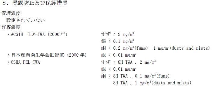 Sn-3.0Ag-0.5CuのMSDS
